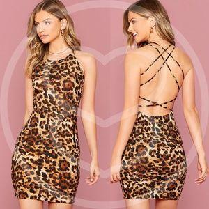SHAWNA Animal Print Criss Cross Back Mini Dress